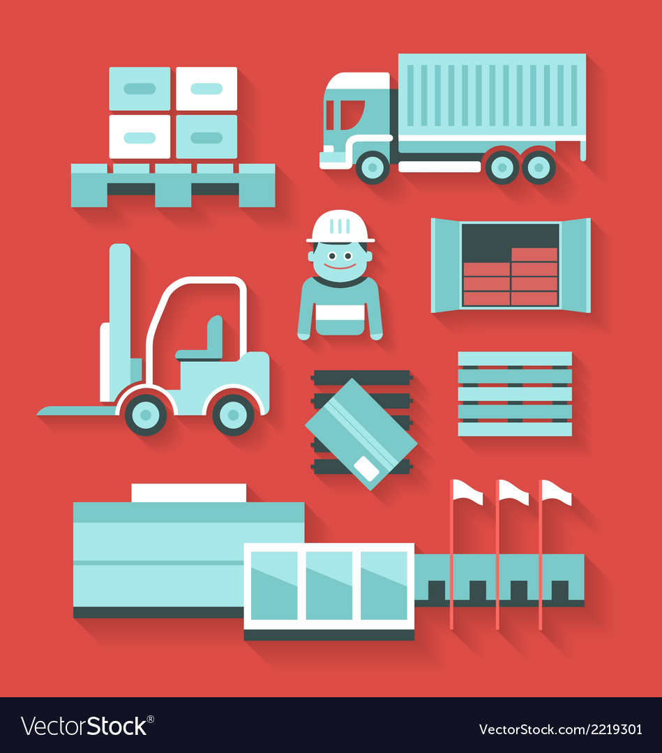 Flat icons of distribution and logistics vector | Price: 1 Credit (USD $1)