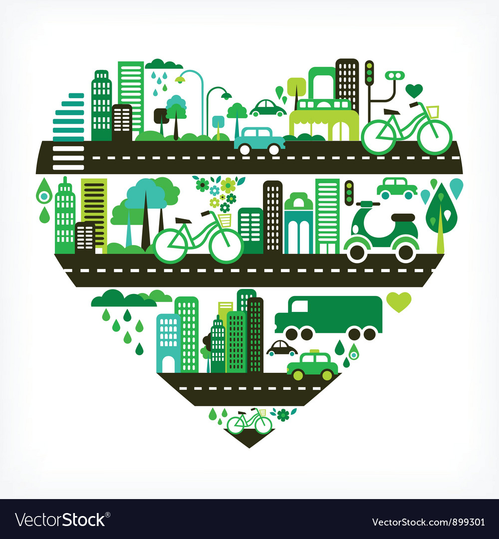Heart shape with green city vector | Price: 3 Credit (USD $3)