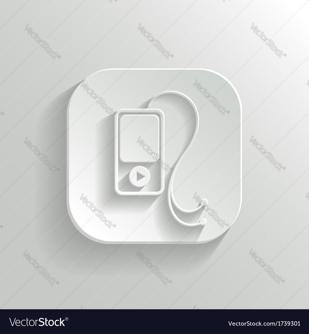 Mp3 player icon - white app button vector | Price: 1 Credit (USD $1)