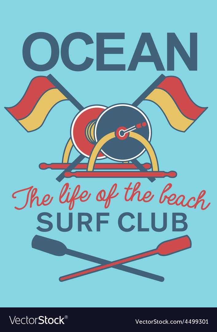 Ocean surf club equipment vector