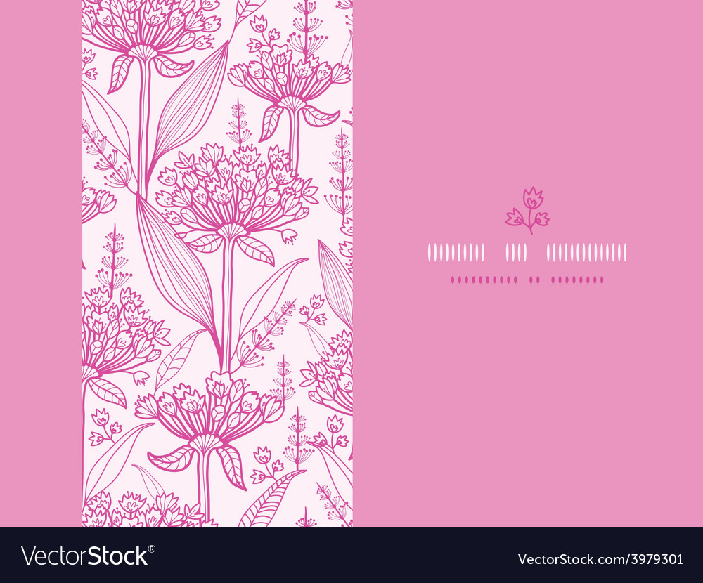 Pink lillies lineart horizontal seamless pattern vector | Price: 1 Credit (USD $1)