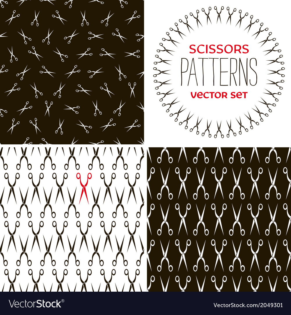 Set of monochrome scissors backgrounds vector | Price: 1 Credit (USD $1)