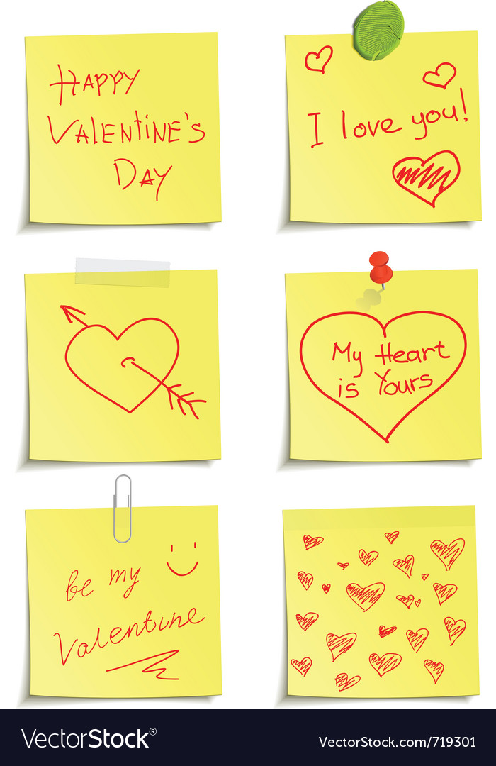 Set of notes to valentine day vector | Price: 1 Credit (USD $1)