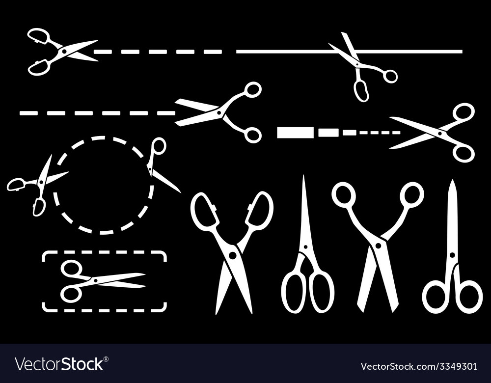 White scissors set with dotted line on black vector | Price: 1 Credit (USD $1)