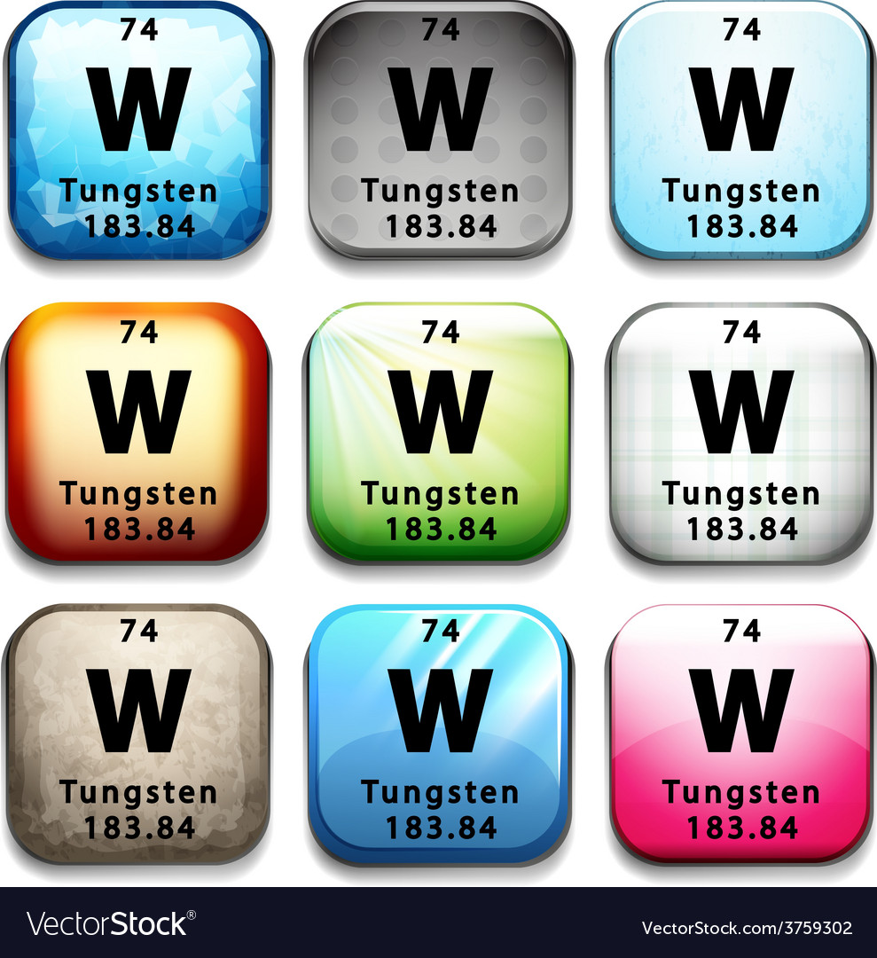 An icon showing the element tungsten vector | Price: 1 Credit (USD $1)