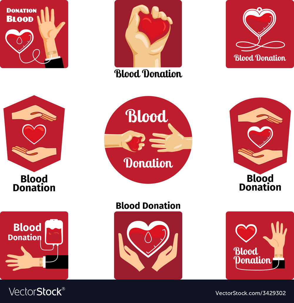 Blood donation labels and badges vector | Price: 1 Credit (USD $1)