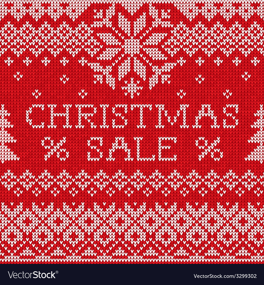 Christmas sale scandinavian style seamless knitted vector | Price: 1 Credit (USD $1)