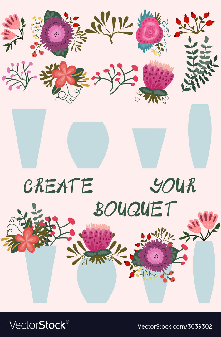 Create your bouquet vector | Price: 1 Credit (USD $1)