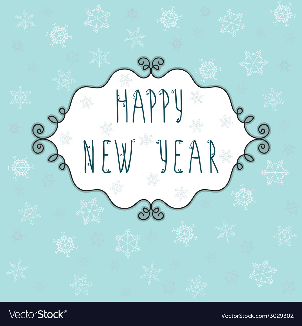 Happy new year greeting card with decorative frame vector | Price: 1 Credit (USD $1)