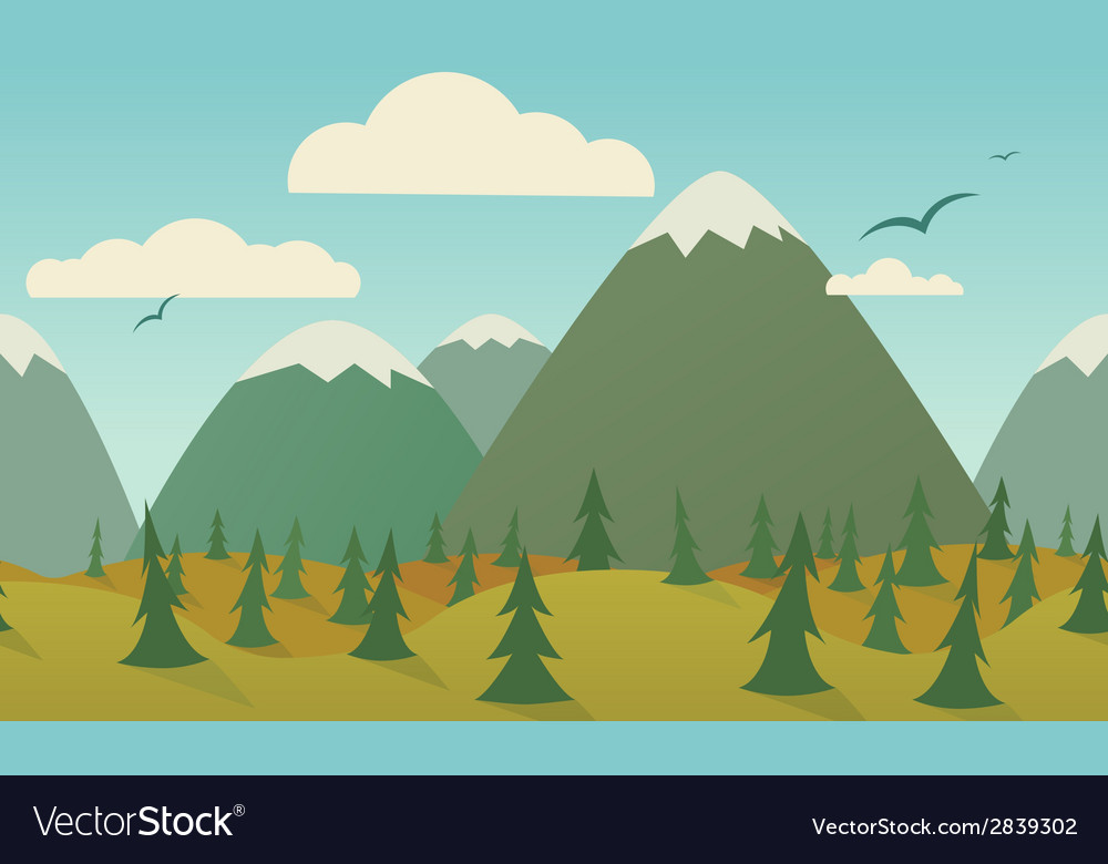Horizontal nature seamless vector | Price: 1 Credit (USD $1)