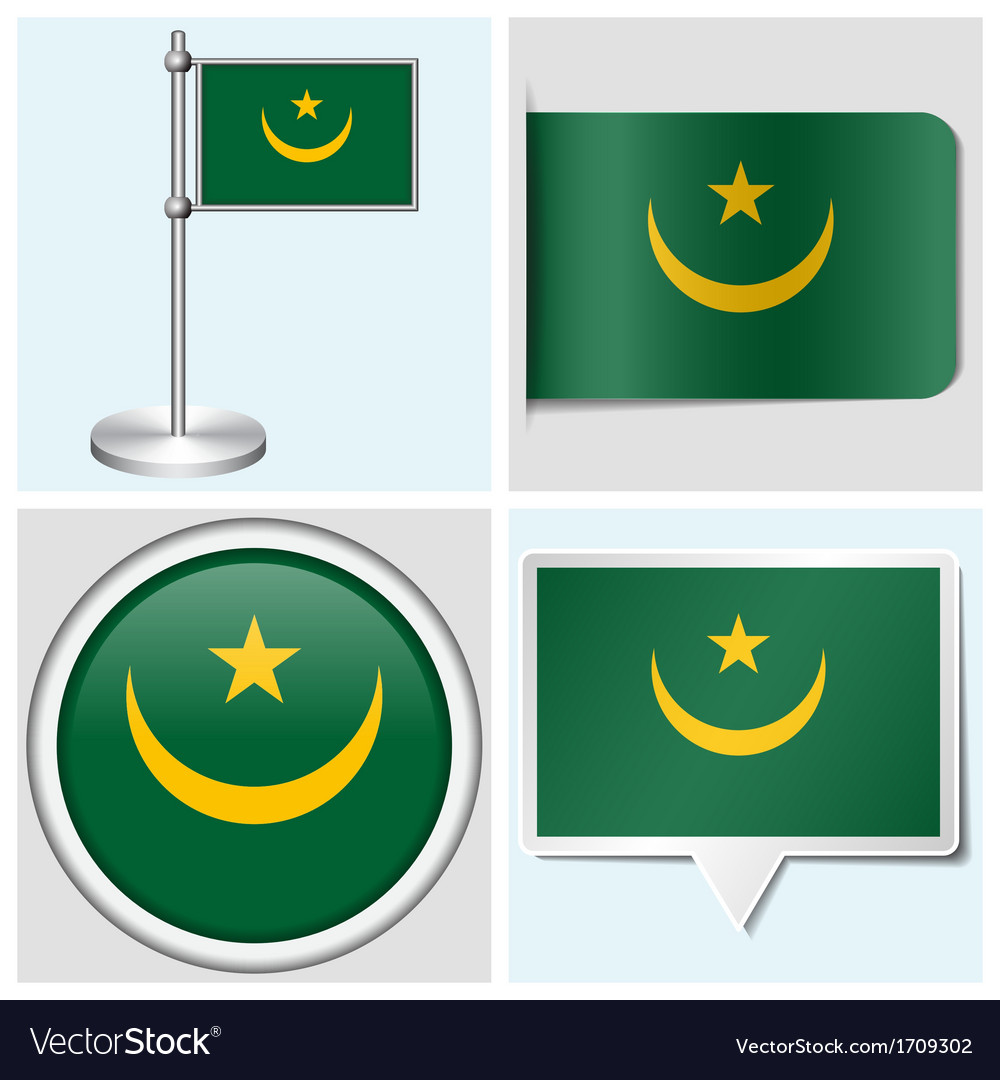 Mauritania flag - sticker button label vector | Price: 1 Credit (USD $1)