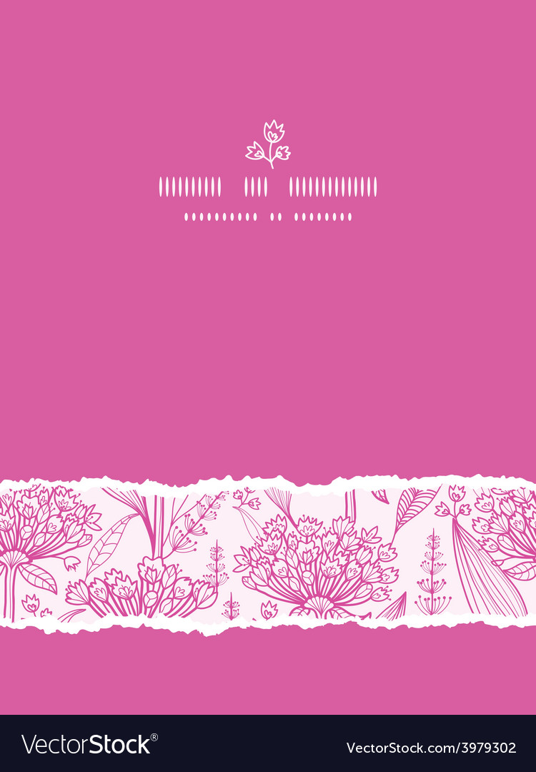 Pink lillies lineart vertical torn seamless vector | Price: 1 Credit (USD $1)