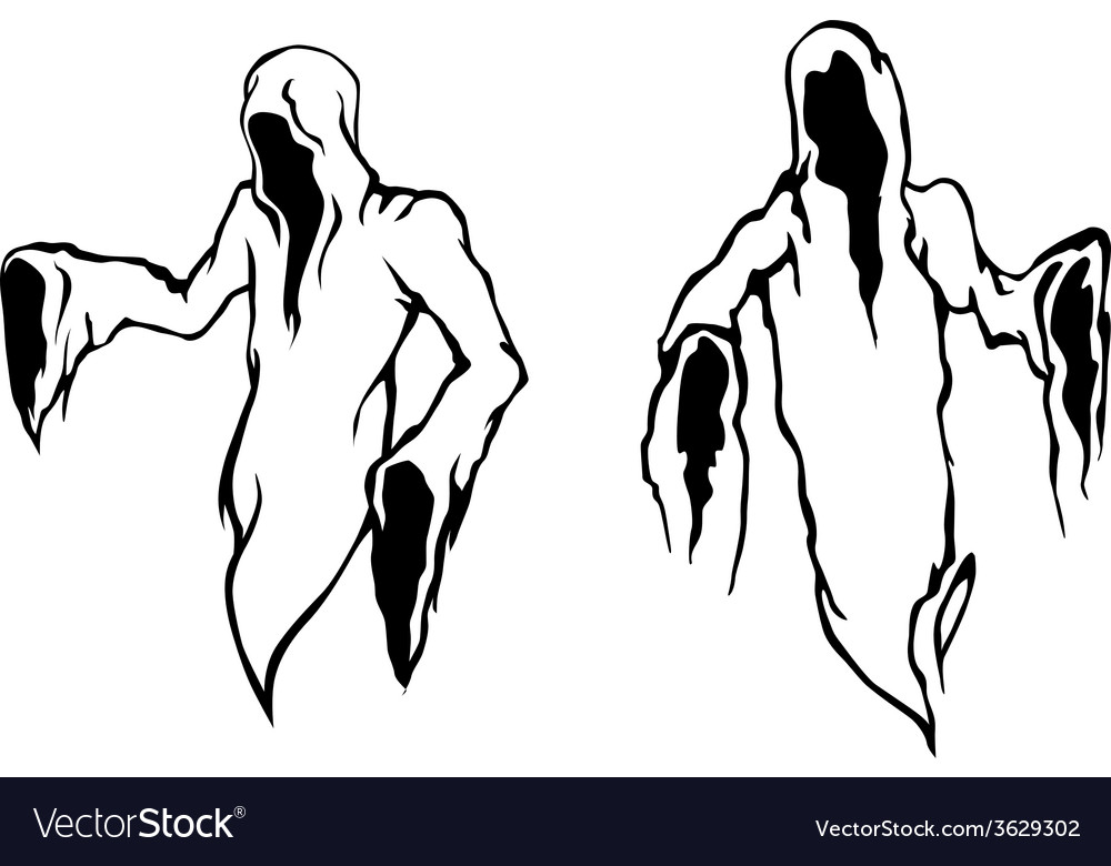 Two halloween ghosts vector | Price: 1 Credit (USD $1)