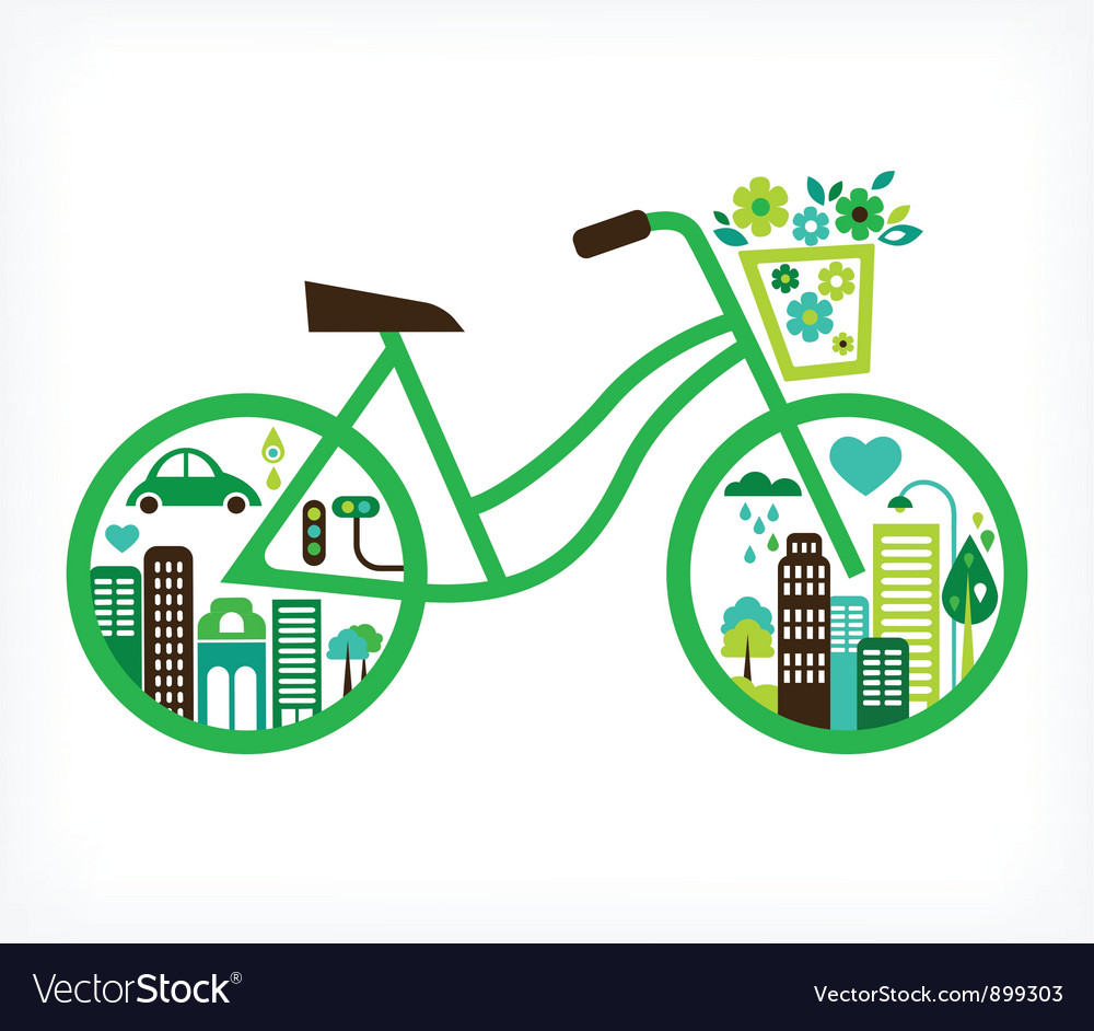 Bicycle with green city vector | Price: 3 Credit (USD $3)