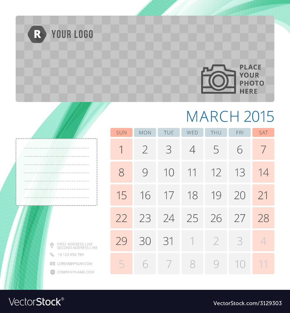 Calendar 2015 march template with place for photo vector | Price: 1 Credit (USD $1)