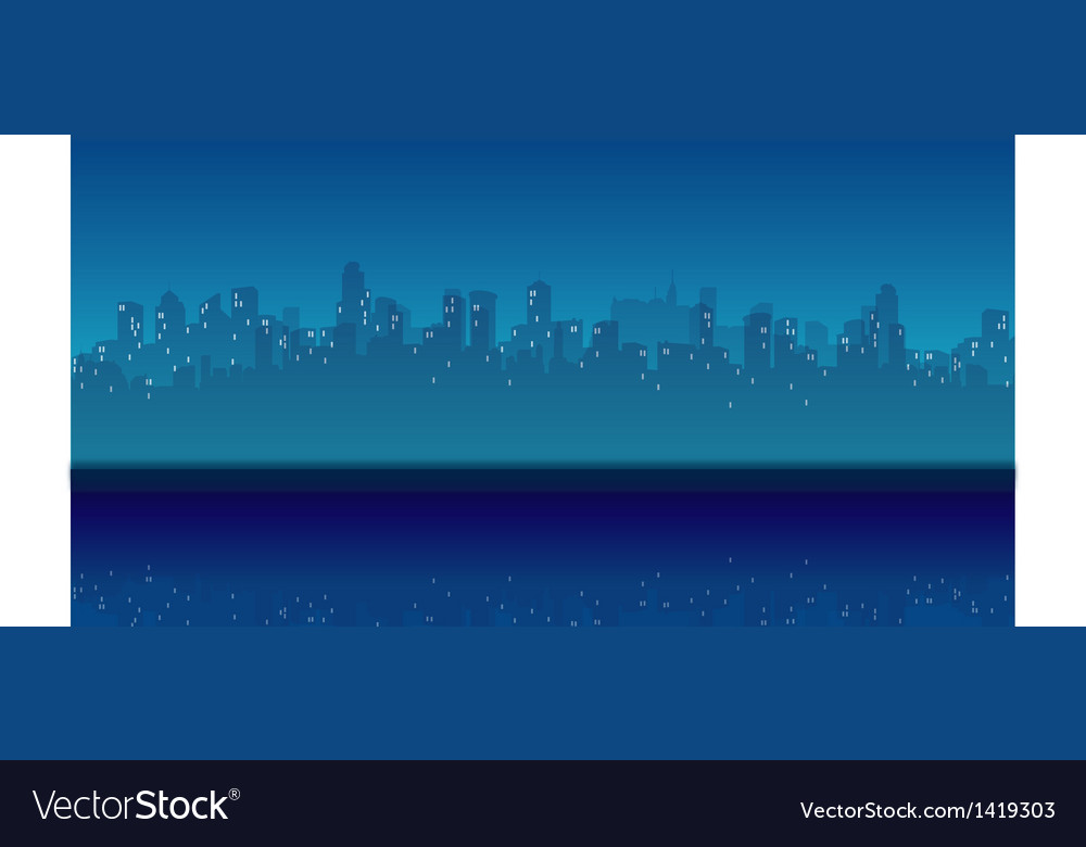 City skyline waterfront night vector | Price: 1 Credit (USD $1)