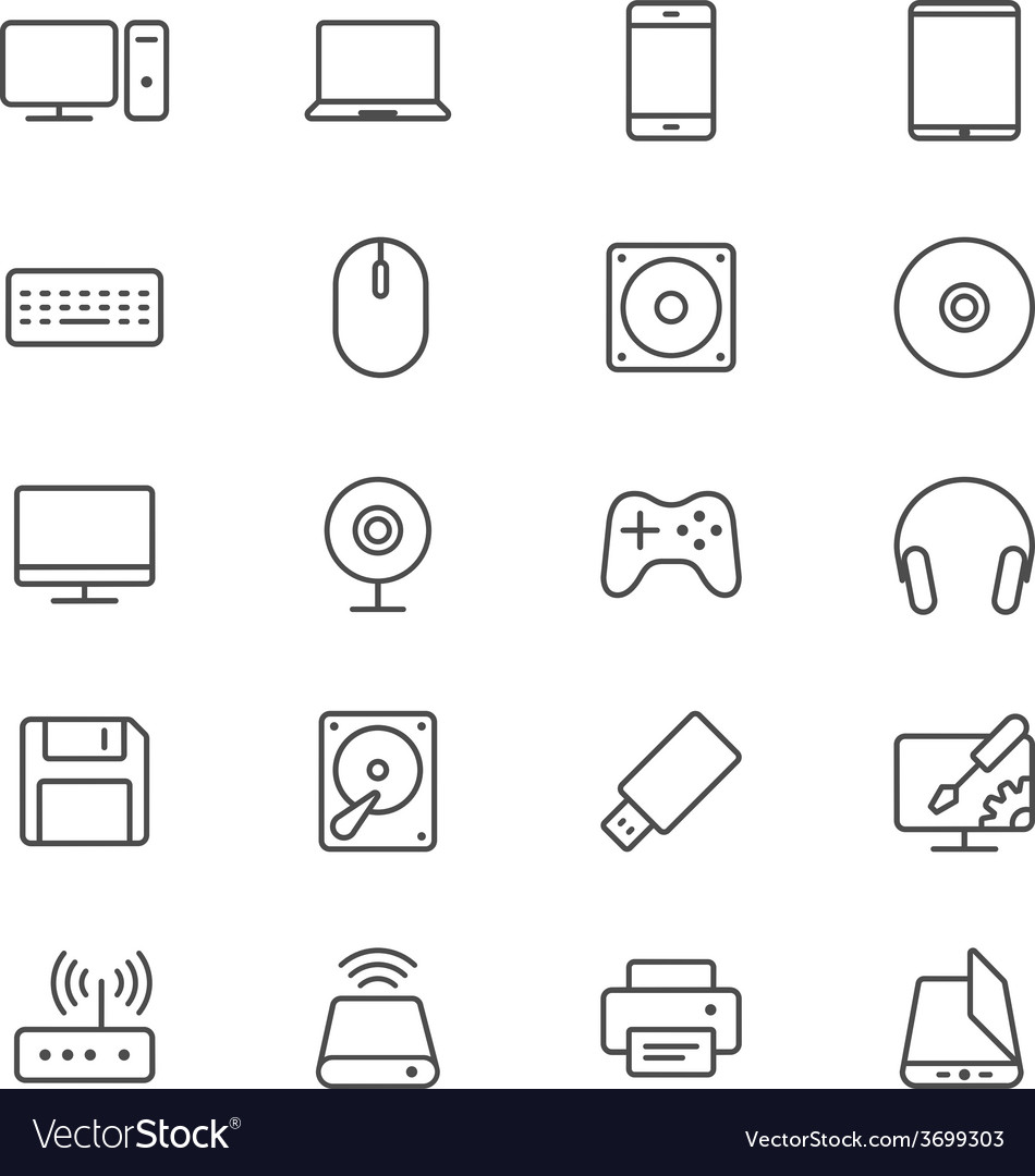 Computer thin icons vector | Price: 1 Credit (USD $1)