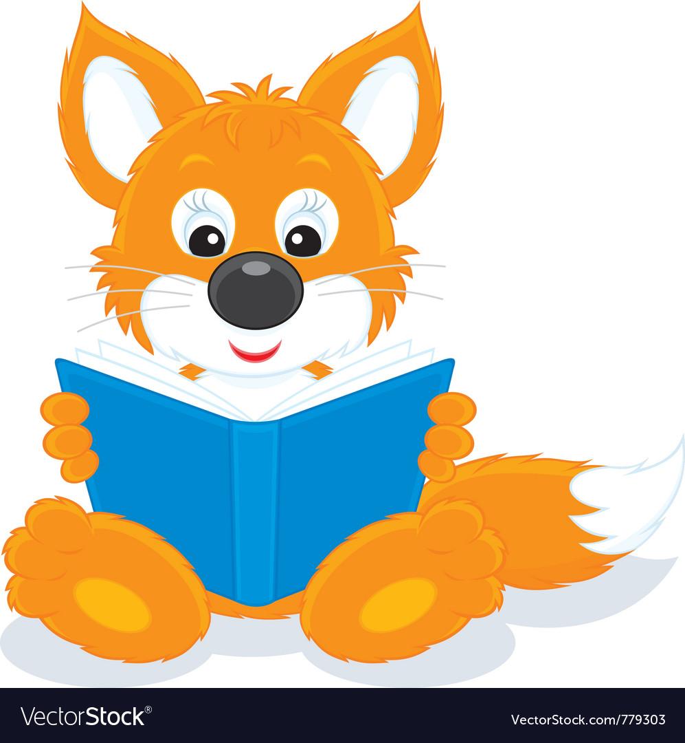 Fox cub reading a book vector | Price: 3 Credit (USD $3)
