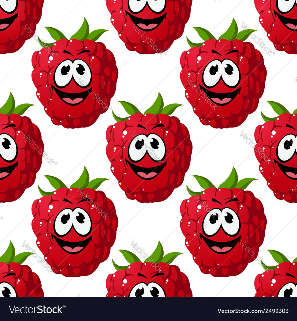 Happy ripe red raspberry seamless pattern vector   Price: 1 Credit (USD $1)