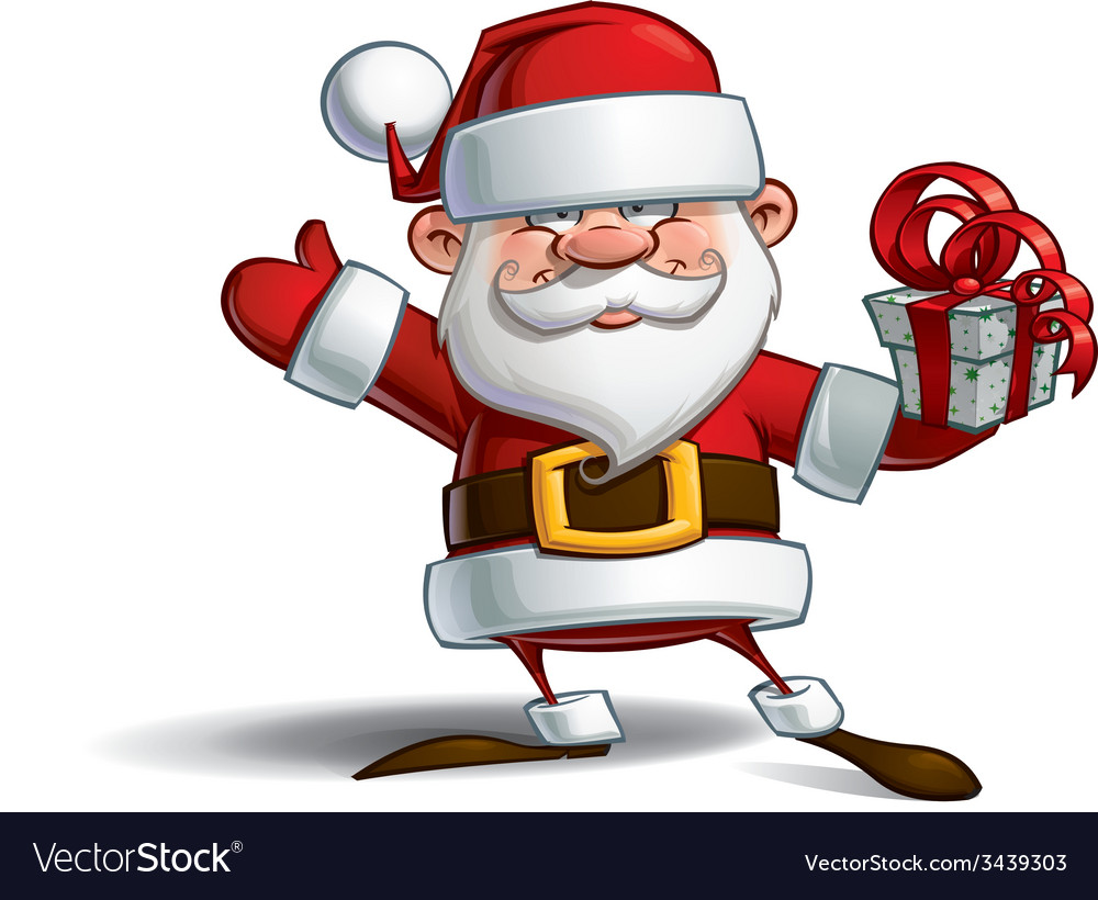 Happy santa salute with a gifts vector | Price: 3 Credit (USD $3)