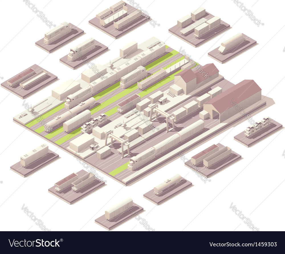 Isometric railroad yard vector | Price: 1 Credit (USD $1)