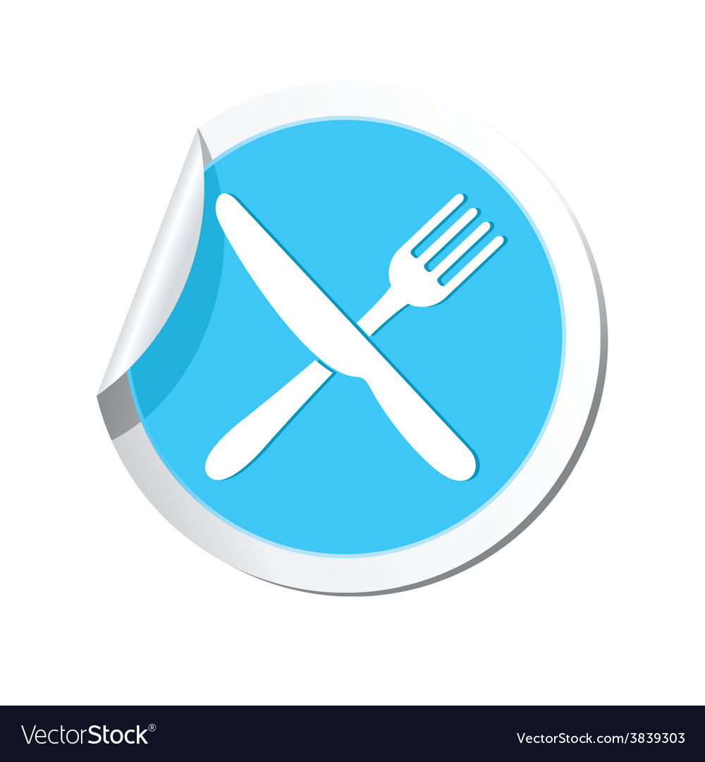 Knife and fork blue label vector | Price: 1 Credit (USD $1)
