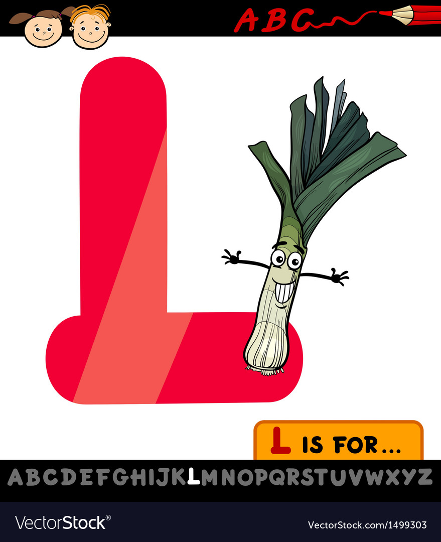 Letter l with leek cartoon vector | Price: 1 Credit (USD $1)