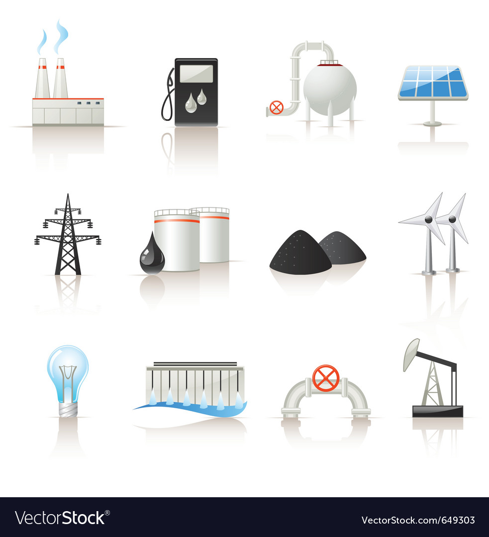Power industry icon set vector | Price: 1 Credit (USD $1)