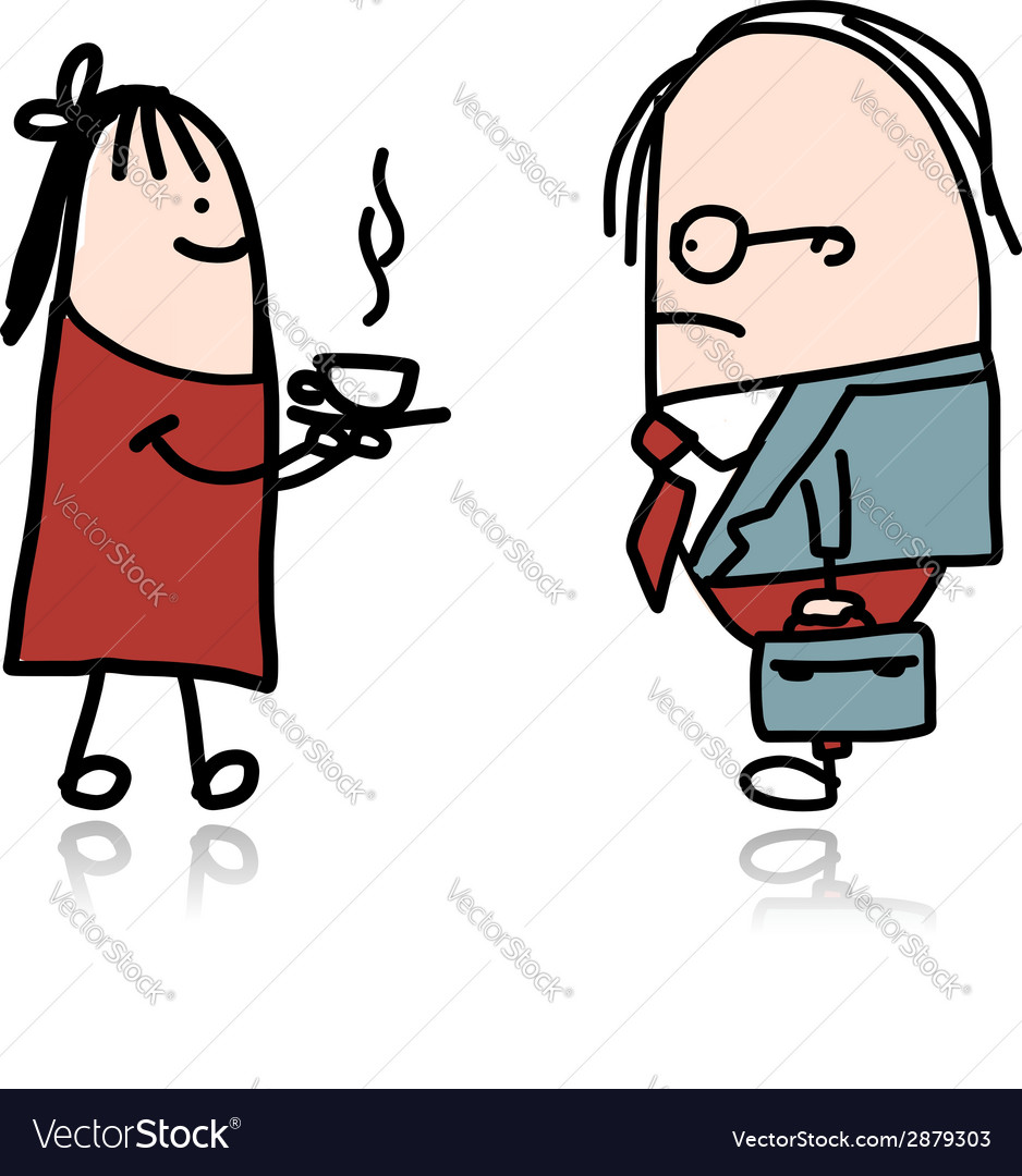 Secretary girl bring hot coffee for boss vector | Price: 1 Credit (USD $1)