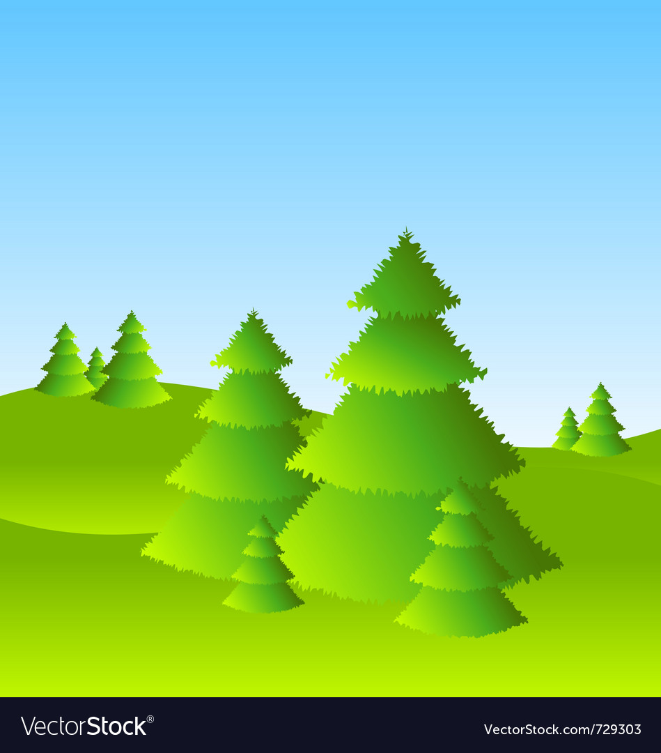 Spring or summer landscape scenery with trees vector | Price: 1 Credit (USD $1)