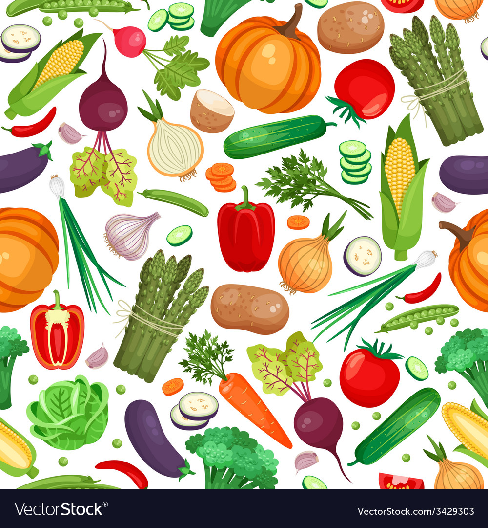 Vegetable organic food seamless background vector | Price: 1 Credit (USD $1)