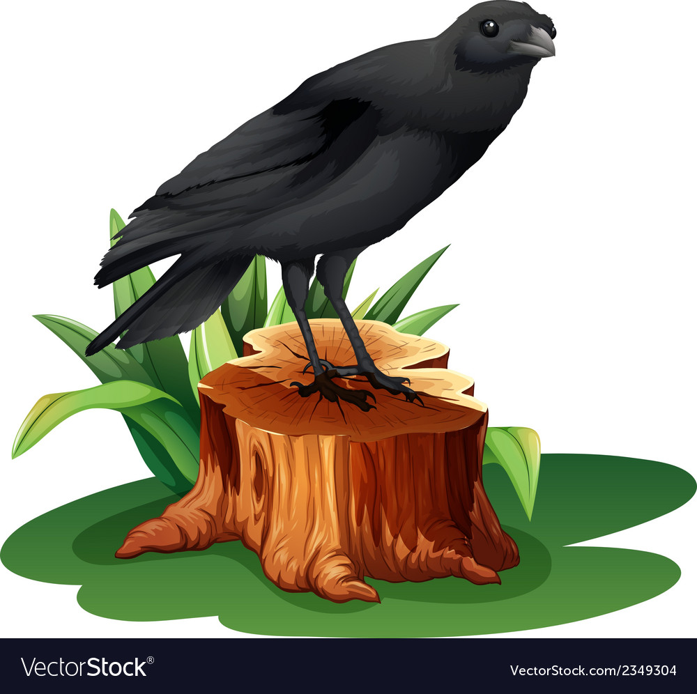 A bird above the stump vector | Price: 1 Credit (USD $1)