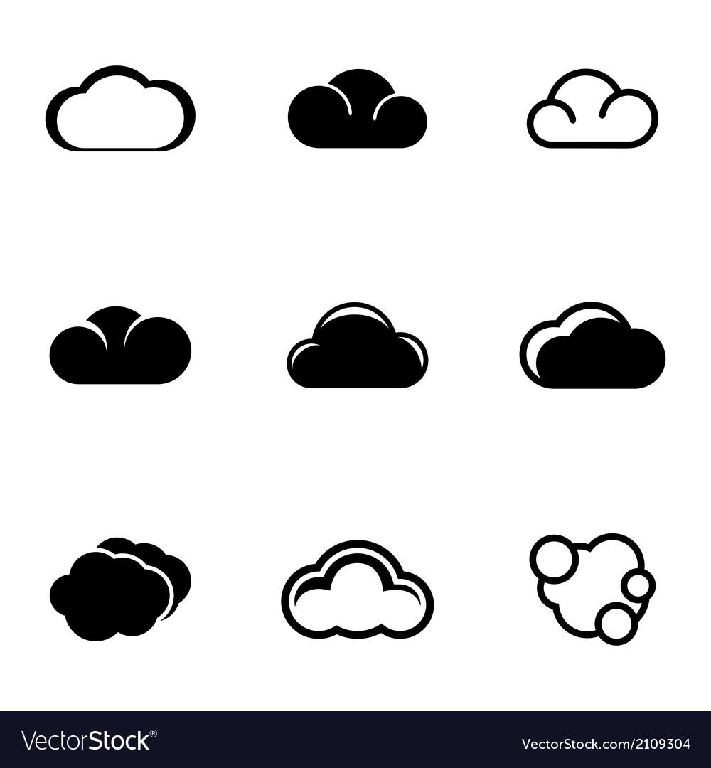 Black cloud icons set vector | Price: 1 Credit (USD $1)