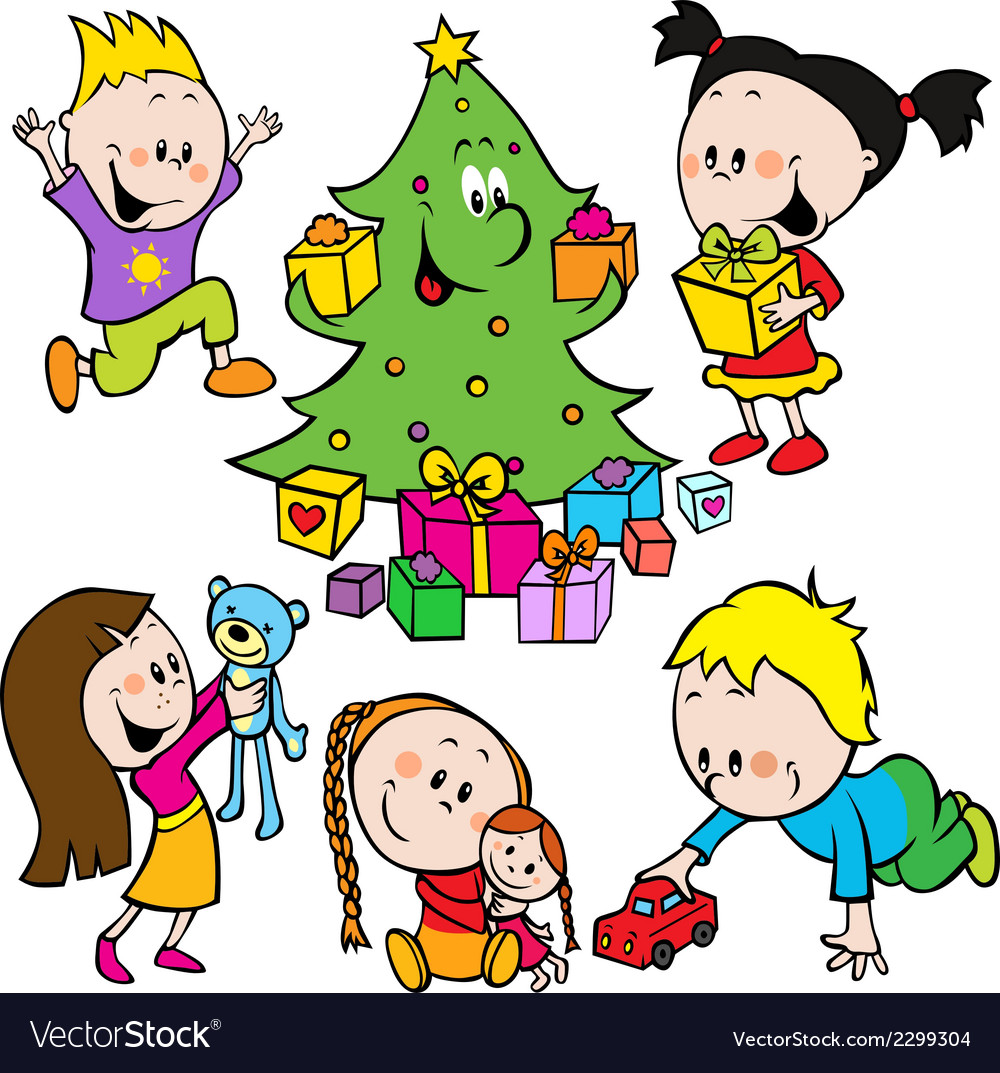 Children playing with toys and christmas tree vector | Price: 1 Credit (USD $1)