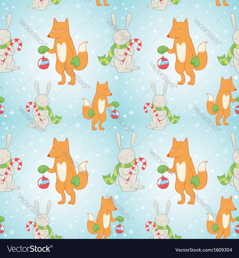 Christmas seamless pattern with bunny and fox vector   Price: 1 Credit (USD $1)
