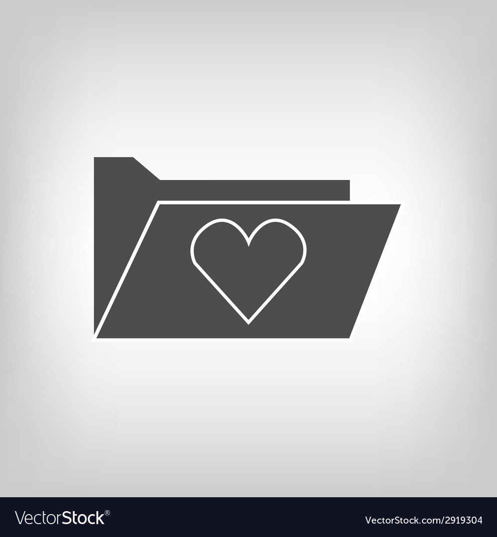 Computer folder with heart vector | Price: 1 Credit (USD $1)