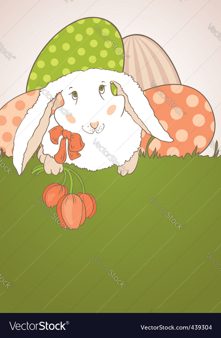 Easter bunny with tulips vector | Price: 1 Credit (USD $1)