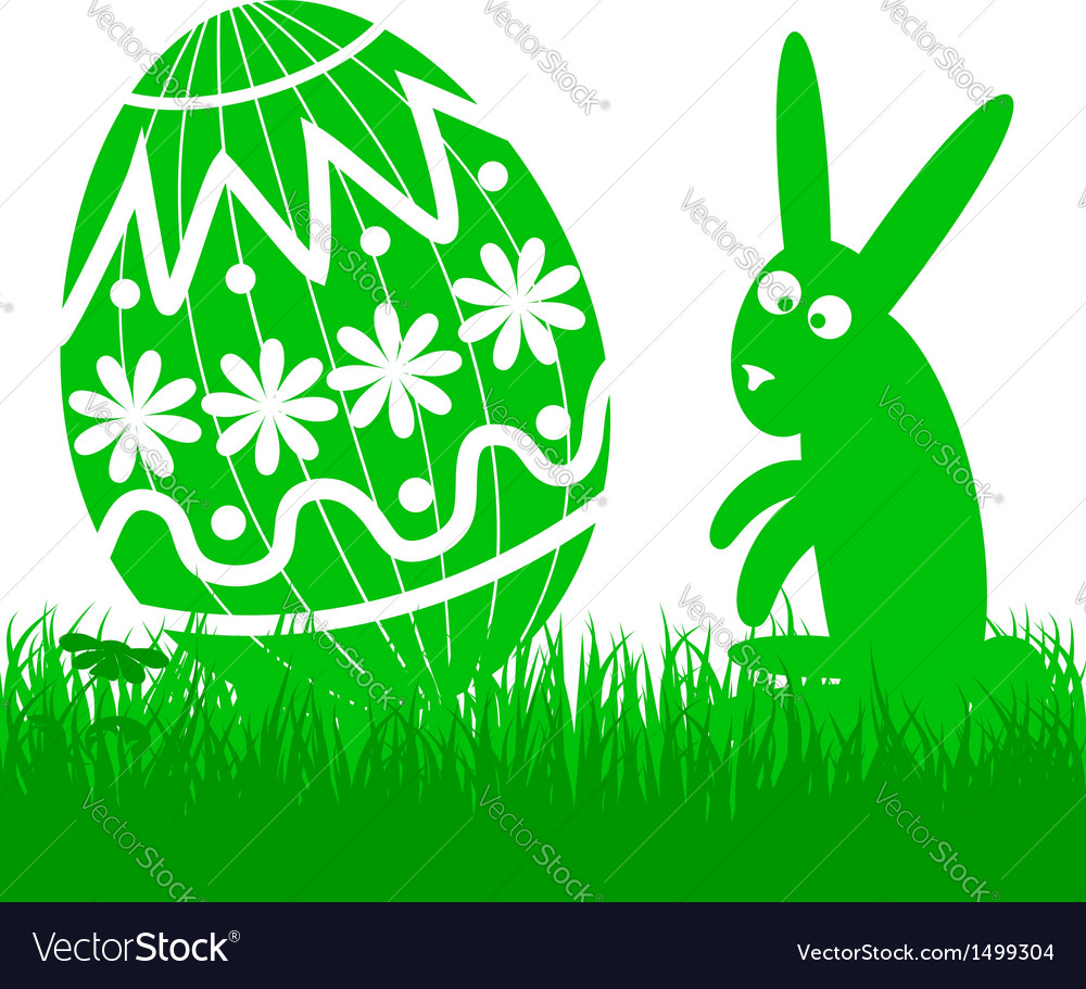 Easter egg and rabbit vector | Price: 1 Credit (USD $1)