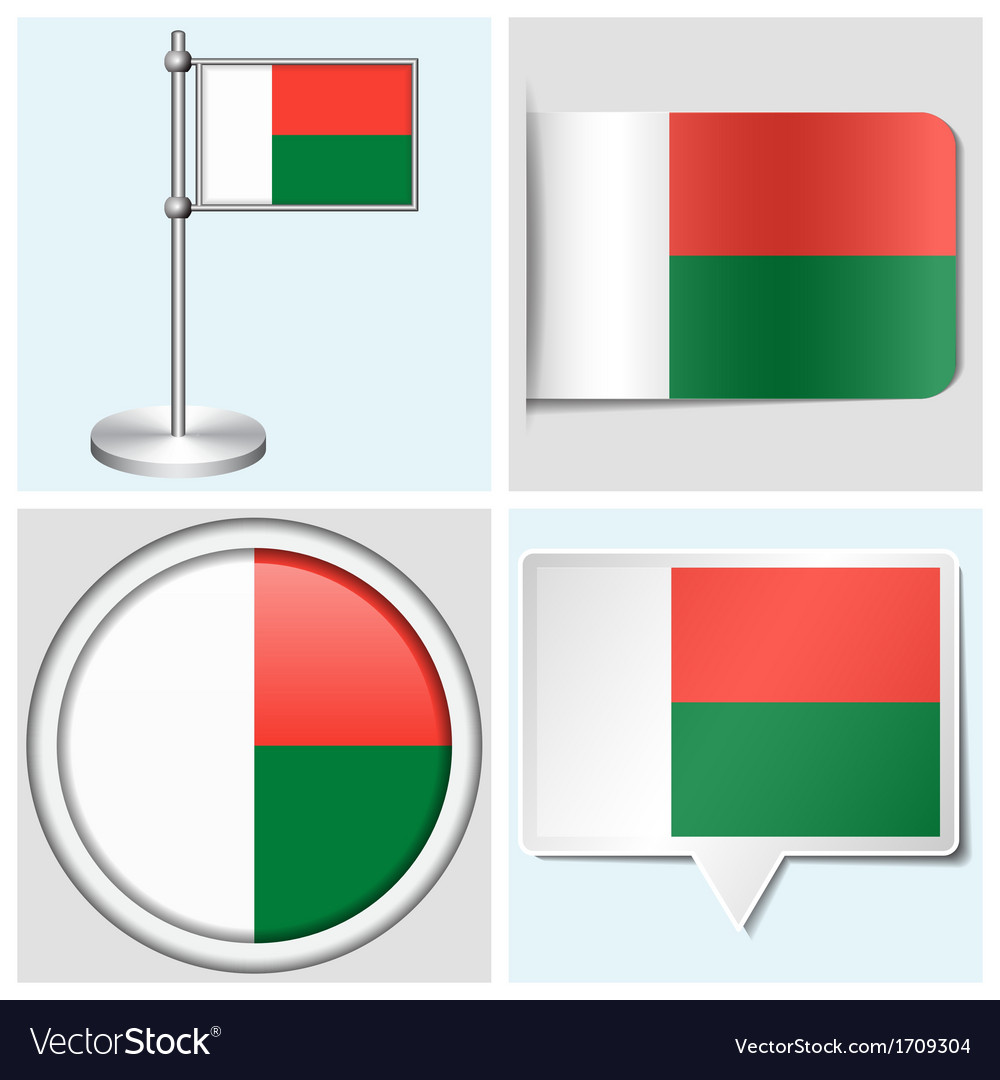 Madagascar flag - sticker button label vector | Price: 1 Credit (USD $1)