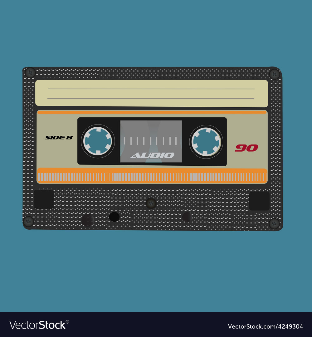Retro audio cassete vintage color vector | Price: 1 Credit (USD $1)