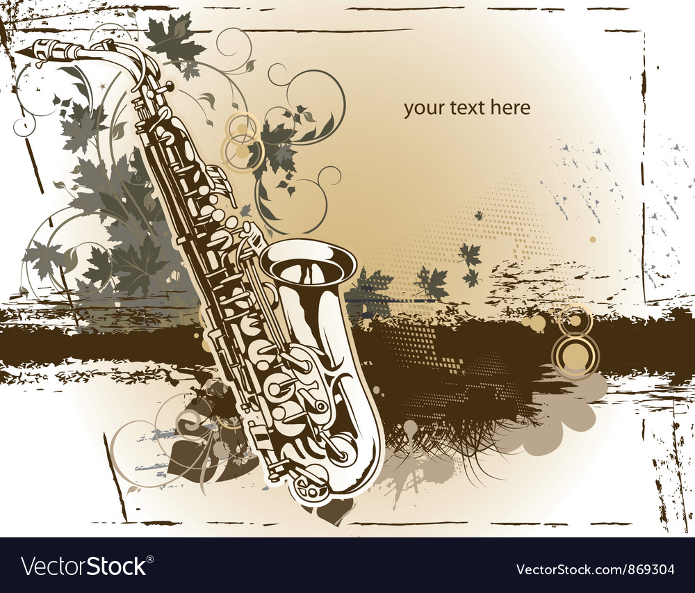 Saxophone with floral vector | Price: 1 Credit (USD $1)