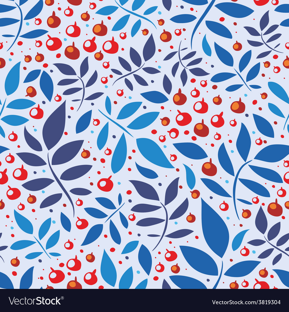 Seamless pattern with leaves and berries vector | Price: 1 Credit (USD $1)