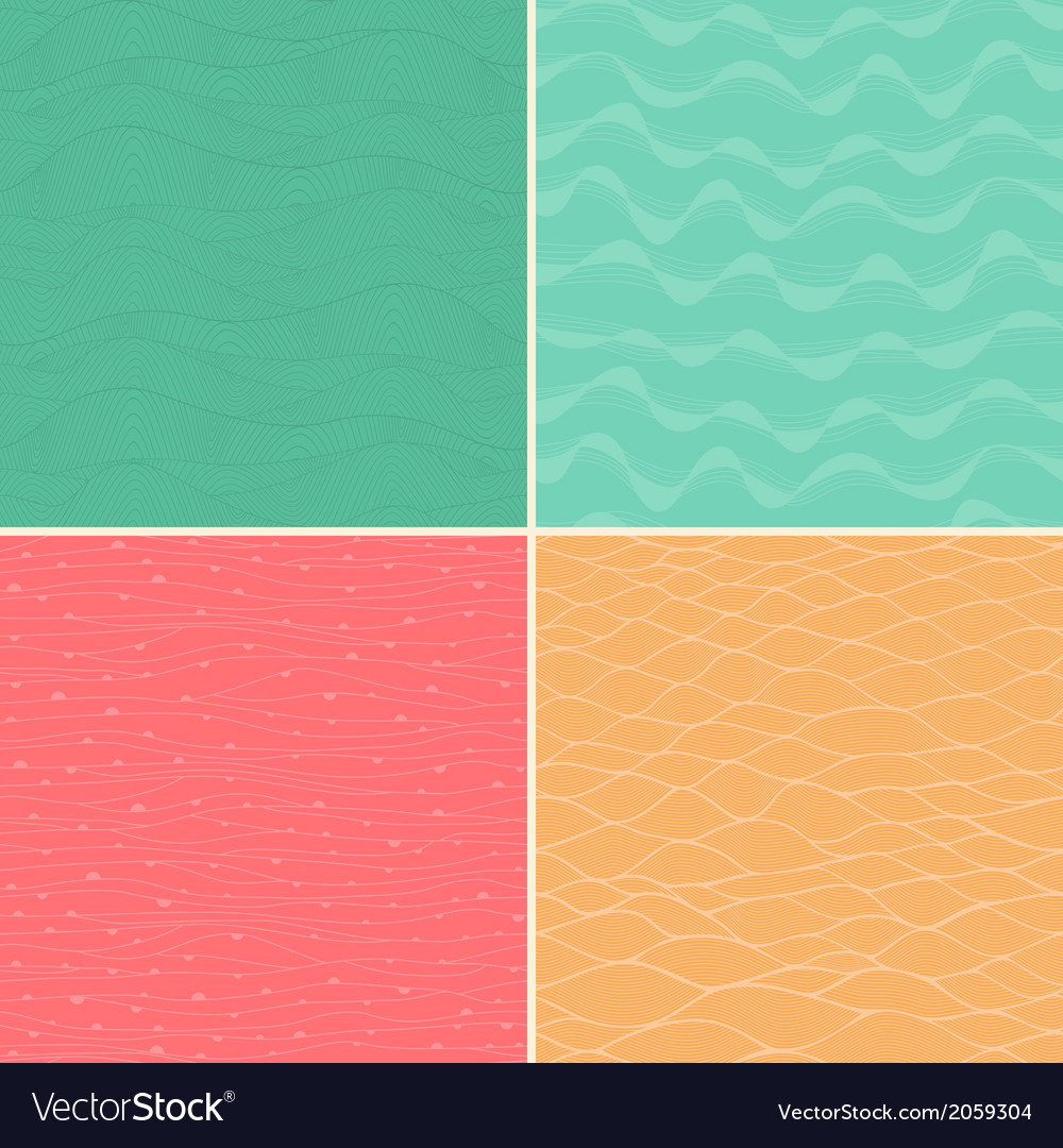 Set of four seamless abstract hand-drawn pattern vector | Price: 1 Credit (USD $1)