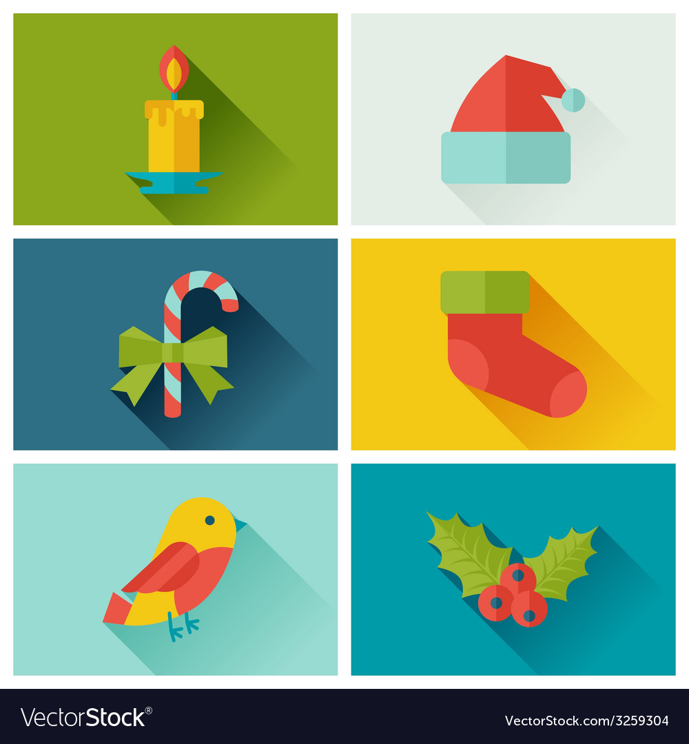 Set of merry christmas and happy new year icons vector   Price: 1 Credit (USD $1)