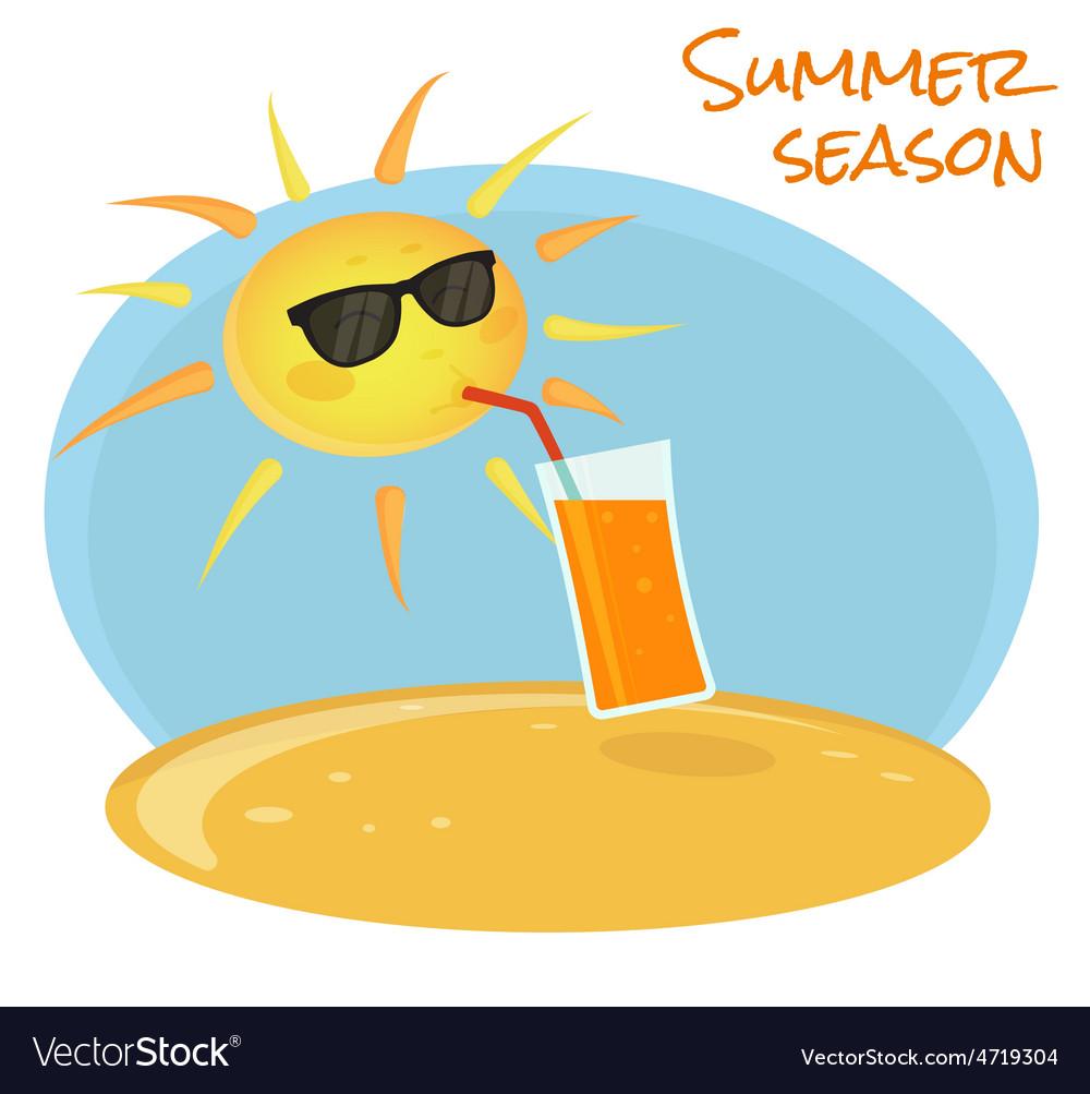 Summer sun drinking orange cocktail vector | Price: 1 Credit (USD $1)