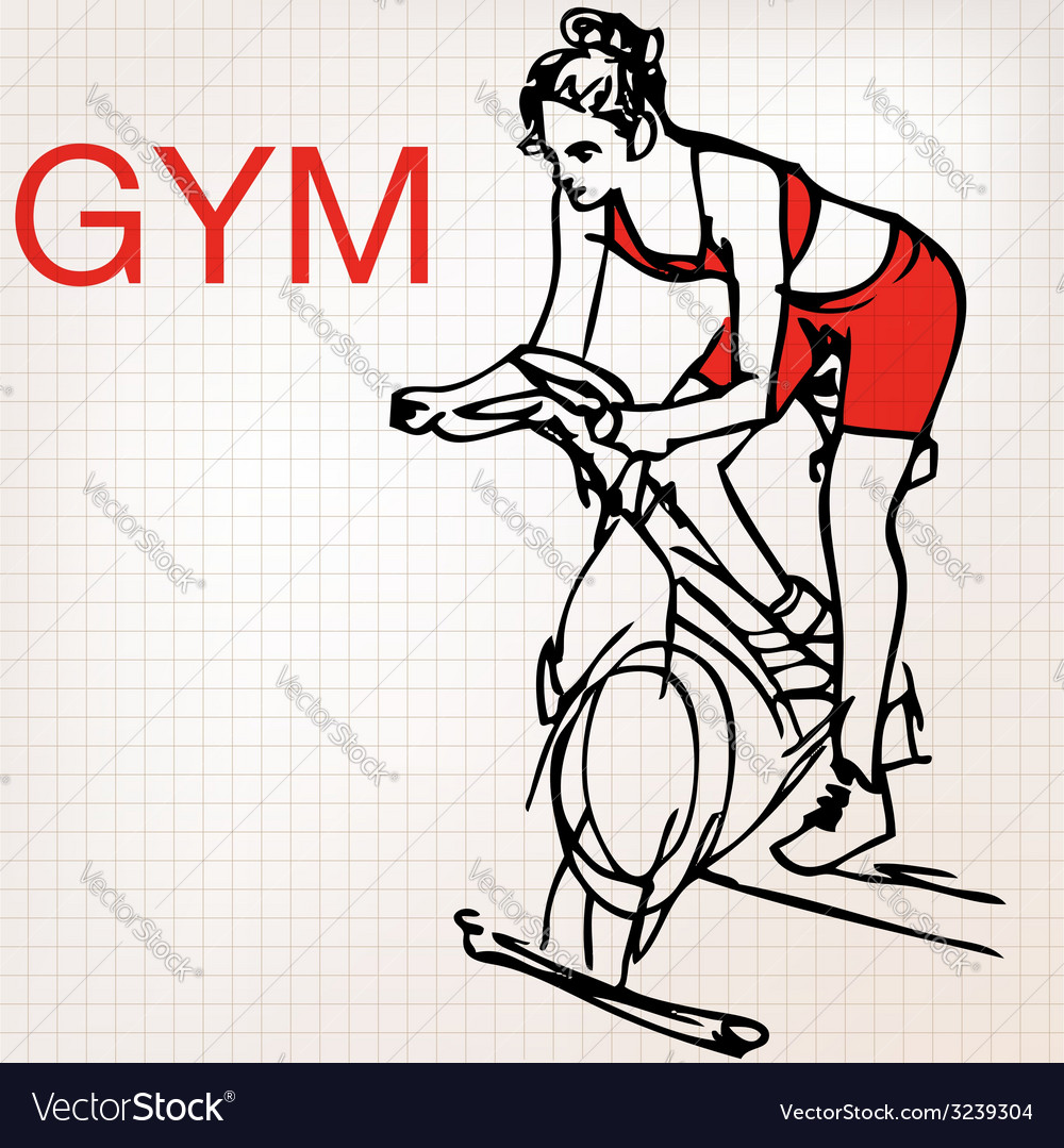 Young women on stationary bikes exercising in th vector | Price: 1 Credit (USD $1)