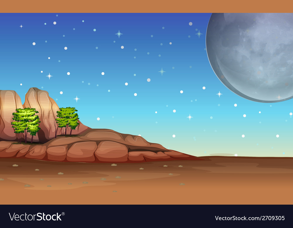 A desert under the bright full moon and sparkling vector | Price: 3 Credit (USD $3)