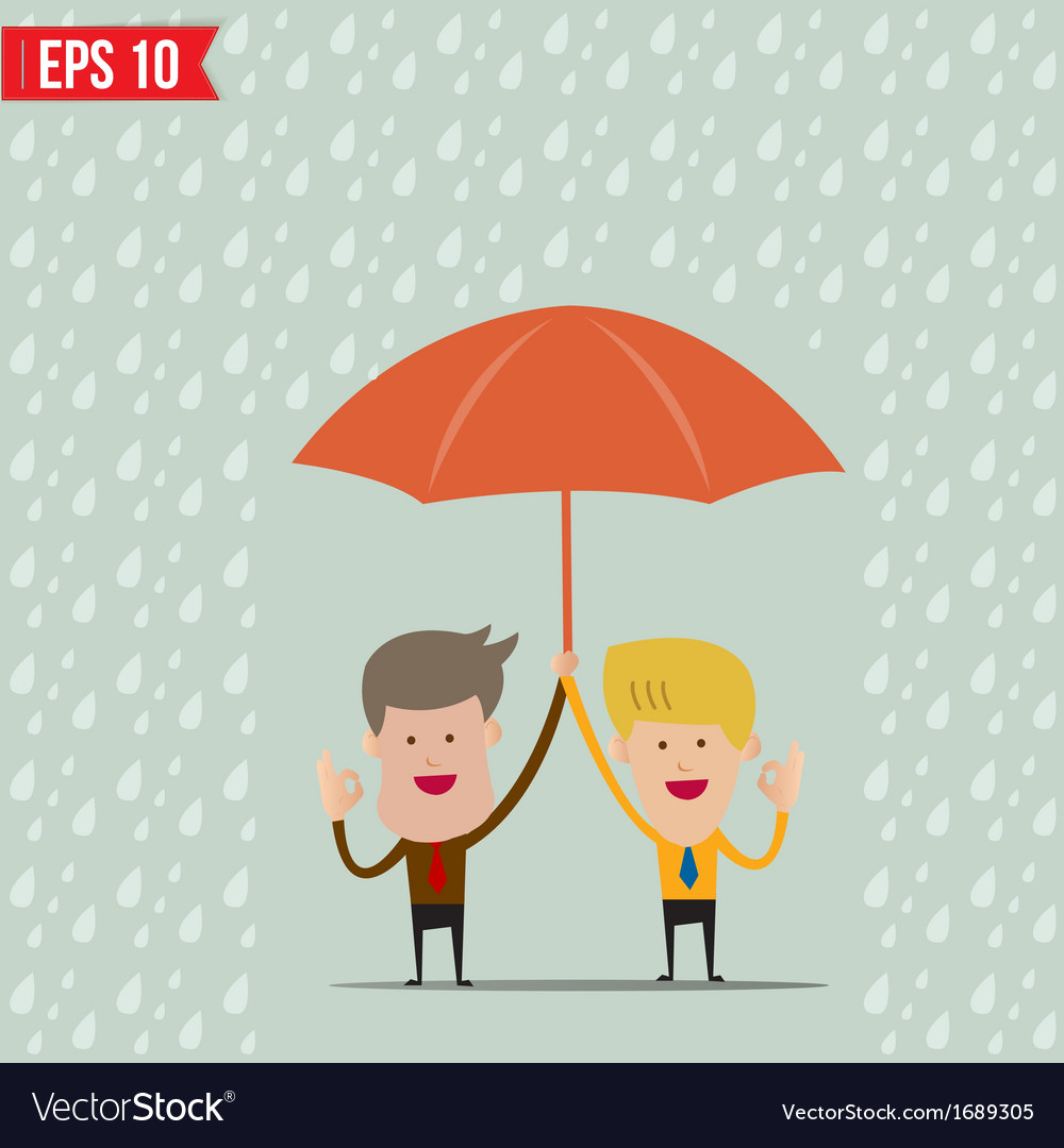 Business cartoon holding umbrella for safety vector | Price: 1 Credit (USD $1)
