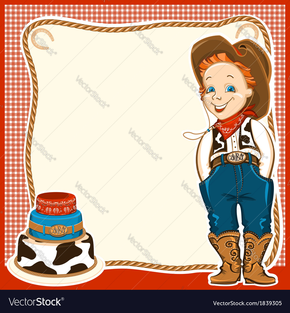 Cowboy child birthday background with cake vector | Price: 1 Credit (USD $1)