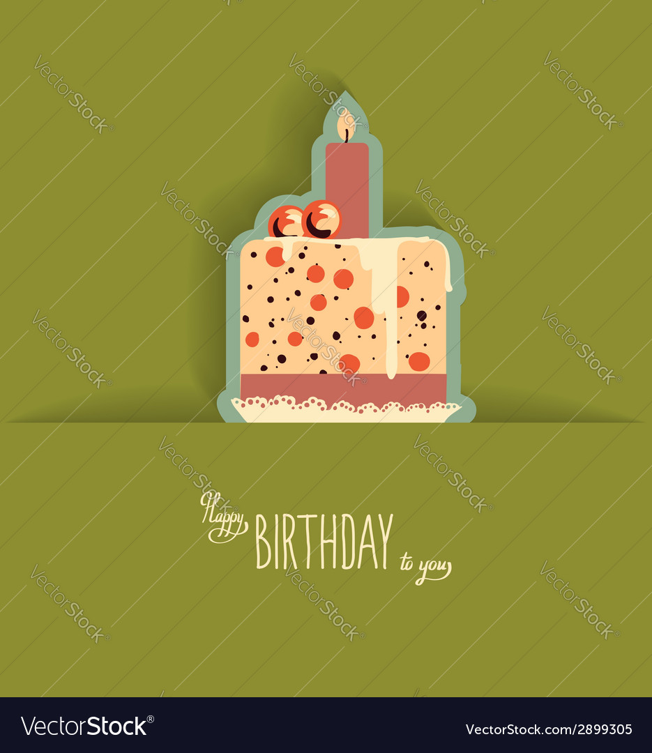 Cute happy birthday card with cupcake vector | Price: 1 Credit (USD $1)